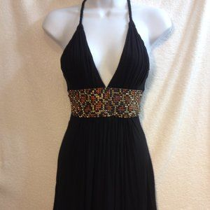 Sky Mini Little Black Dress XS Jeweled Leopard NEW